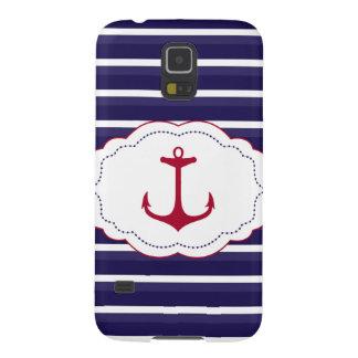 Nautical Dark Blue White Stripes Red Anchor Galaxy S5 Cases