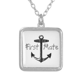 Nautical First Mate Anchor Silver Plated Necklace