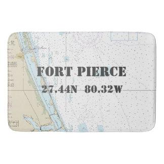 Nautical Fort Pierce FL Longitude Latitude Chart Bath Mats