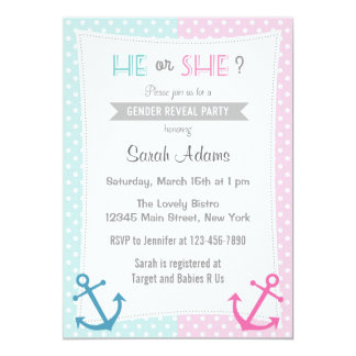 Nautical Gender Reveal Party Invitation Blue Pink