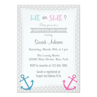 Nautical Gender Reveal Party Invitation Polkadot