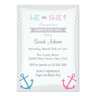 Nautical Gender Reveal Party Invitation Polkadot
