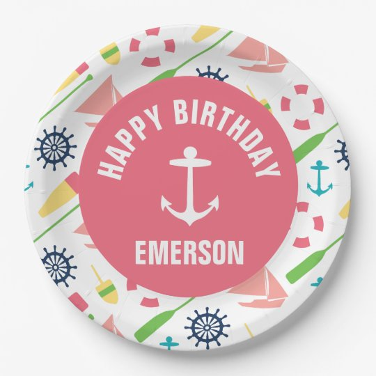 Nautical Girl Personalised Happy Birthday Plate 9 Inch Paper Plate