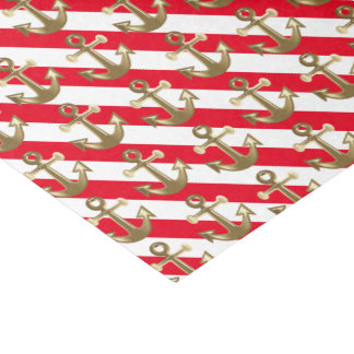 "Nautical | Gold Anchors | White Stripes 10"" X 15"" Tissue Paper"