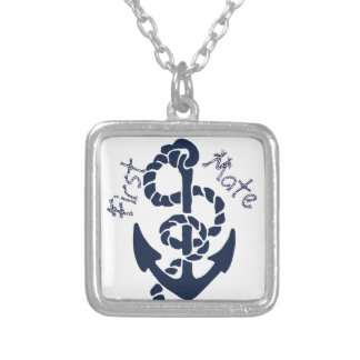 Nautical Navy Anchor Pattern Silver Plated Necklace