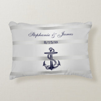 Nautical Navy Blu Anchor Silver White Accent Cushion