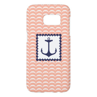 Nautical Navy Blue Anchor Coral Pink Waves