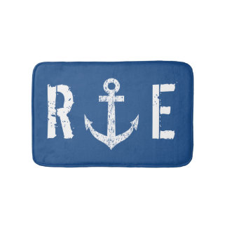 Nautical navy blue anchor monogram bath mat rug