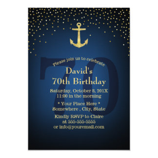 Nautical Navy Blue Gold Anchor 70th Birthday Party Card