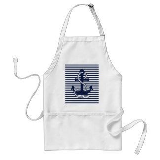 Nautical Navy Blue White Stripes and Blue Anchor Standard Apron