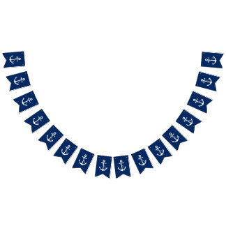 Nautical Navy Blue with White Anchor Bunting