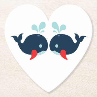 Nautical Navy Red Whales Beach Wedding Party Paper Coaster