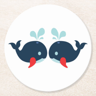 Nautical Navy Red Whales Beach Wedding Party Round Paper Coaster
