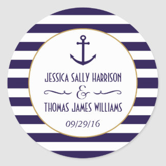 Nautical Navy & White Stripe Anchor Wedding Favor Round Sticker