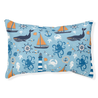 Nautical Ocean Blue and Orange Dog Bed