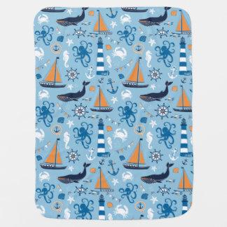 Nautical Ocean Blue and Orange Pramblankets