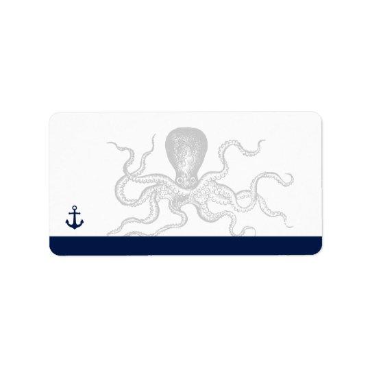 Nautical Octopus   Anchor Blank Address Address Label