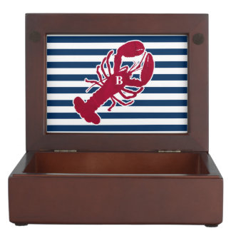 Nautical Red Lobster Monogram Blue White Stripe Keepsake Box