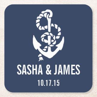 Nautical Rope & Anchor Wedding Coasters