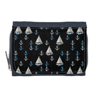 Nautical Sail Boats and Anchors Denim Wallet