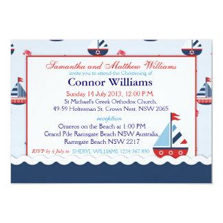 Nautical Sailboats Baptism Card