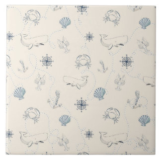 Nautical Sea Large Square Tile