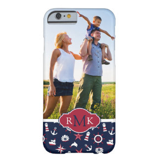 Nautical Sea Pattern| Your Photo & Monogram Barely There iPhone 6 Case