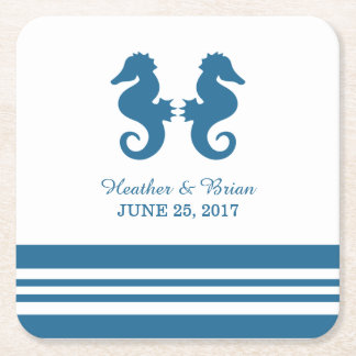 Nautical Seahorse Wedding Paper Coasters