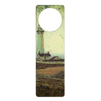 nautical seascape oil painting vintage lighthouse door hanger