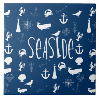 Nautical Seaside Large Square Tile