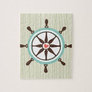 Nautical Ship Wheel with Wood Background Jigsaw Puzzle