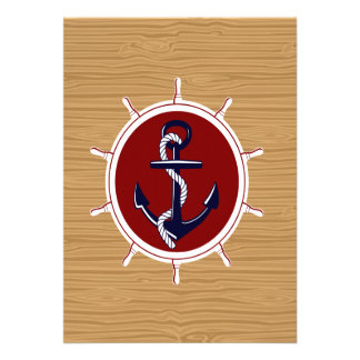 Nautical Ships Wheels Anchor on Wood Grain Personalized Announcement