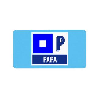 "Nautical Sign Flag Alphabet P ""Papa"" Label"
