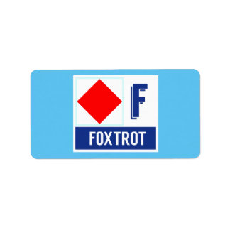 "Nautical Signal Code Flag Alphabet F ""Foxtrot"" Address Label"