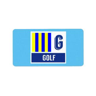 """Nautical Signal Code Flag Alphabet G """"Golf"""" Label"""