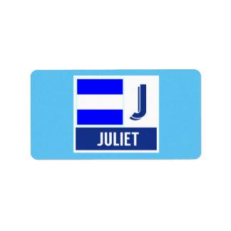 "Nautical Signal Code Flag Alphabet J ""Juliet"" Label"