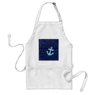 Nautical Stripe anchor handwriting design Standard Apron