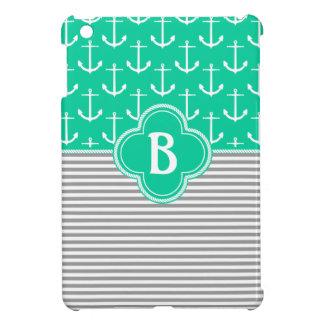 Nautical Stripes & Anchors Monogram Sea Green Cover For The iPad Mini