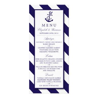 Nautical Stripes & Navy Blue Anchor Wedding Menu Rack Card