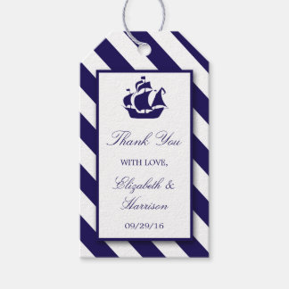 Nautical Stripes & Navy Blue Ship Wedding Gift Tags