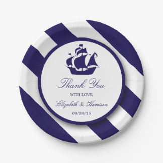 Nautical Stripes & Navy Blue Ship Wedding Paper Plate