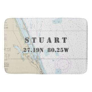 Nautical Stuart FL Longitude Latitude Chart Bath Mats