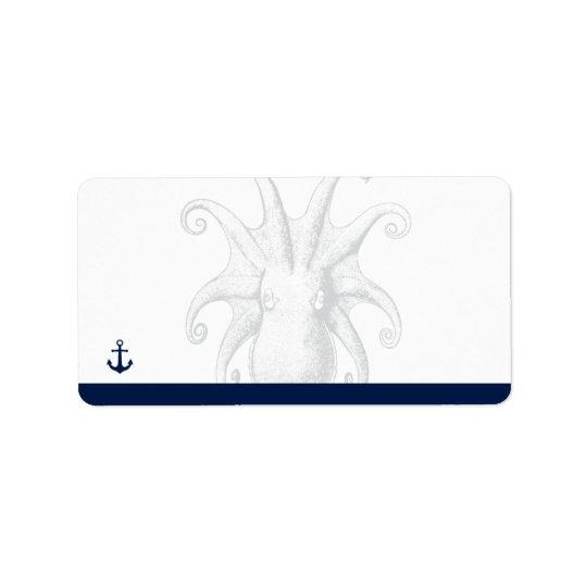 Nautical Style Octopus | Return Address Address Label