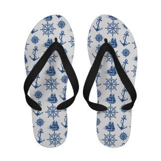 Nautical Theme Anchor Blue and White Flip Flops