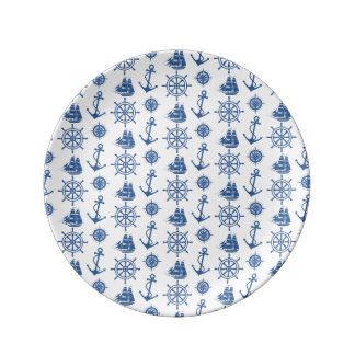 Nautical Theme Anchor Blue and White Porcelain Plate