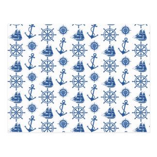 Nautical Theme Anchor Blue and White Postcard