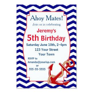 Nautical Theme Birthday Party 13 Cm X 18 Cm Invitation Card