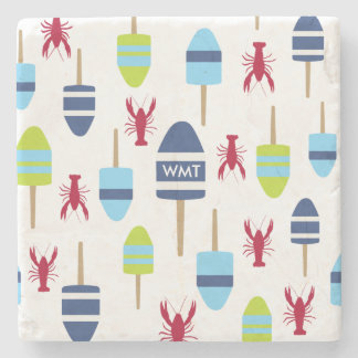 Nautical Theme Buoy and lobster monogrammed Stone Coaster