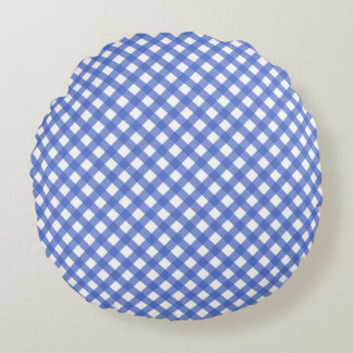 Nautical Theme - Navy Plaid Pattern Round Pillow
