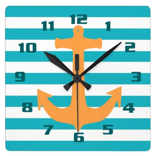 Nautical Theme Stripes and Anchor Wall Clock